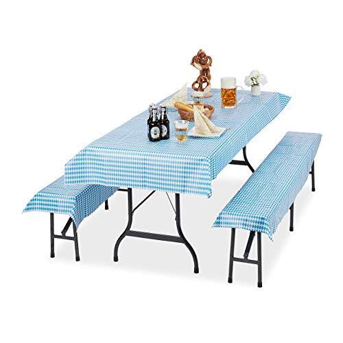 Relaxdays Biertentgarnituur topper Oktoberfest, set van 3, biertafel tafelkleed 250 x 100 cm, 2 bierbankkussens, wit-blauw
