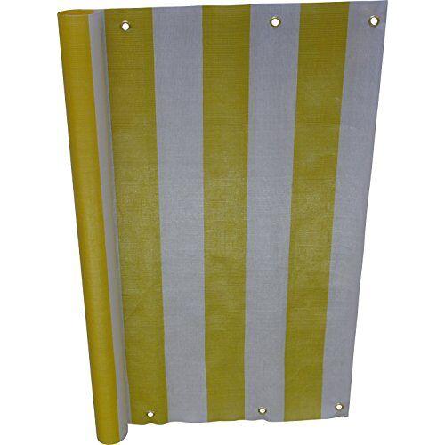 Angerer balkonbekleding, PE-weefsel, blokstrepen geel/wit 90 cm hoch, Länge: 8 Meter geel