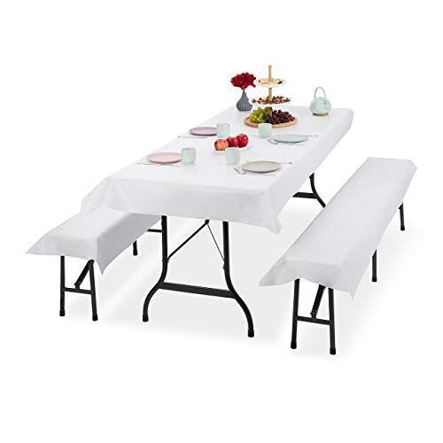 Relaxdays Biertentgarnituur oplegger, set van 3, biertafel tafelkleed 250 x 100 cm, 2 bierbankkussens, afwasbaar, wit