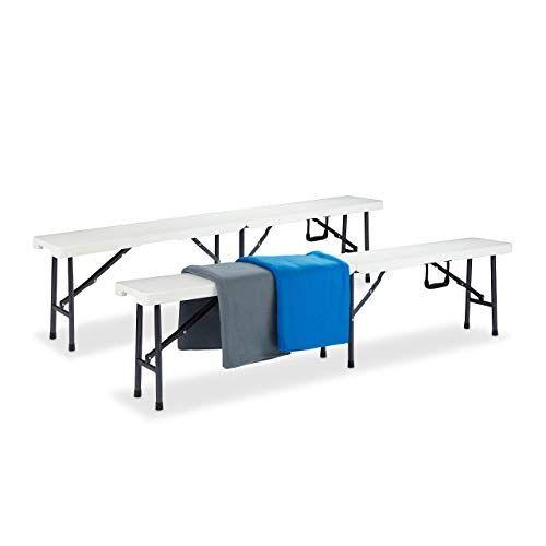 Relaxdays Bierbank 2-delige set, biertentgarnituur, inklapbaar, kofferfunctie, onderhoudsarm, kunststof, h x b x d: 42 x 180 x 25 cm, wit