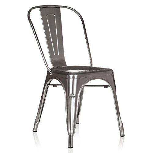 hjh OFFICE 645025 stoel VANTAGGIO COMFORT metallic platina bistrostoel van robuust staal stapelbaar rubber vloerdoppen