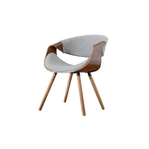 SELSEY Bent schaalstoel/gestoffeerde stoel walnoot en stoffen bekleding in lichtgrijs