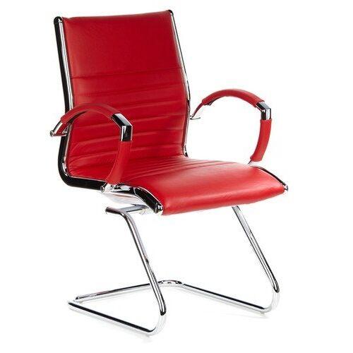 hjh OFFICE Parma V 660535 bezoekersstoel, leer, rood/chroom, cantilever conferentiestoel met armleuningen