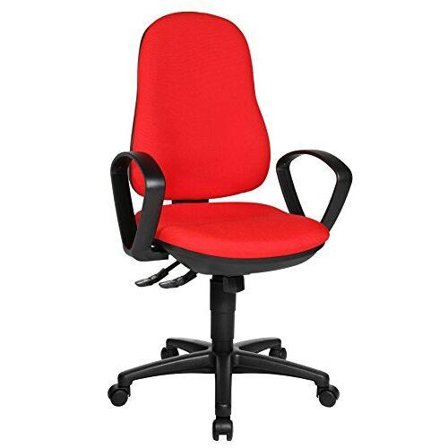 Topstar Support SY bureaustoel, bureaustoel, incl. armleuningen B2(B), bekleding rood, 55 x 58 x 113 cm