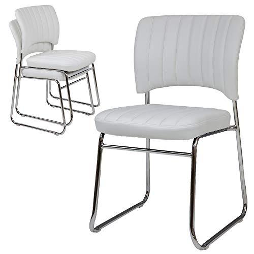 Albatros bezoekersstoel REMO, set van 6, wit, stapelbaar, gestoffeerd, conferentiestoel