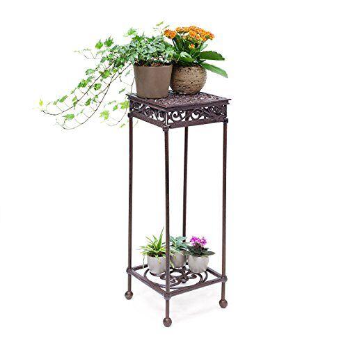 Relaxdays Bloemenkruk, vierkant, maat L, van gietijzer, HBD, ca. 72,5 x 24 x 24 cm, bloemenstandaard met 2 planken, bijzettafel voor bloemen en decoratie in huis en tuin, kruk voor planten, brons