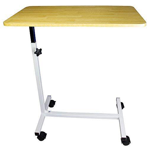 Mobiclinic , Bedtafel voor volwassenen en gehandicapte, Verrijdbare laptoptafel, Bijzettafel voor bank, Lichtgewicht, In hoogte verstelbaar, Verrijdbare en kantelbare, Houten Kleur