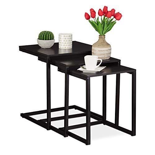 Relaxdays Set van 3 zittafels zwart, modern design, hoekige zijtafels in C-vorm, voor bank en bed, ruimtebesparend, zwart