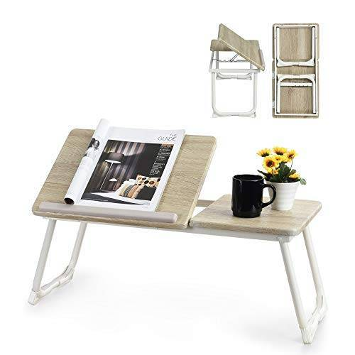 MEUBLE COSY bedtafel, laptopstandaard, opvouwbaar, in hoogte verstelbaar, eiken-finish, voet van wit metaal, 65 x 30 x 27,5 cm