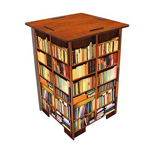 Werkhaus SH8244 fotokruk motief boekenkast kruk, hout, kleurrijk, 29,5 x 29,5 x 42 cm