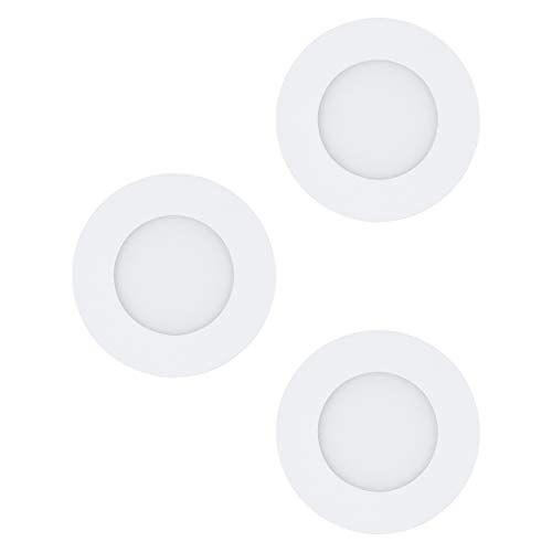Eglo Set van 3 LED inbouwspots Fueva 1, Ø 8,5 cm, LED spots set van gegoten metaal en kunststof, 3 LED inbouwlampen in wit, inbouwspot LED plat, warm wit