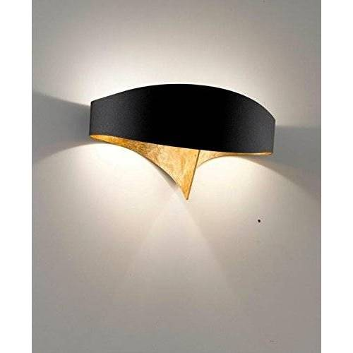 SELENE wandlamp, 33 W, zwart met bladgoud