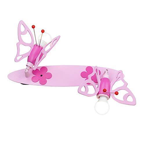 "elobra Kinderkamerlamp meisjes ""lijst vlinder""   magische plafondlamp kinderkamer voor meisjes, lamp vlinder, roze, hout, plafondspot, 45 x 20 x 20 cm"