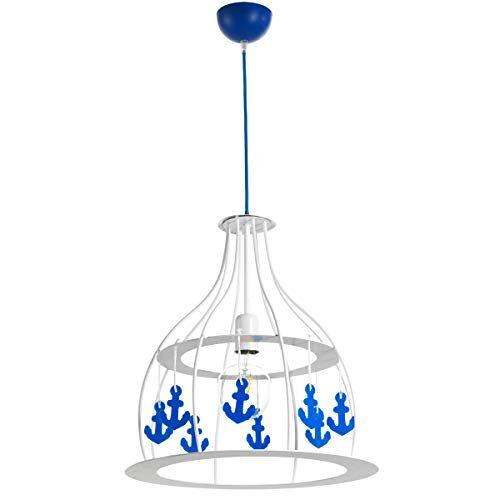 ONLI metalen hanglamp met blauwe kunststof ankers, wit
