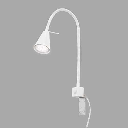 Briloner Leuchten LED bedlamp, bedlamp Flexarm, incl. aan/uit-schakelaar, 4 watt. 400 lumen, 3.000 Kelvin, wit, 4 W