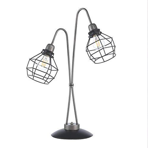 ONLI tafellamp met twee lampen, grijs en zwart