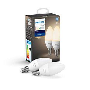 Philips Hue Kaarslamp 2-Pack E14 Duurzame LED Verlichting Warmwit Licht Dimbaar Verbind met Bluetooth of Hue Bridge Werkt met Alexa en Google Home
