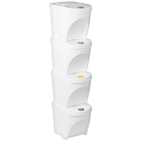Sortibox Set van 4 prullenbak Afvalemmer Keuken (80 liter 4x25L) Prullenbak Container Afvalscheider Afvalemmer Afvalemmer Afvalscheider Bio-afval, Bademmer (grijs)