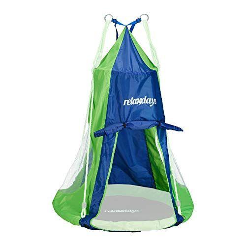 Relaxdays , Blauw-groene tent voor nestschommel, overtrek voor schommelstoel tot 90 cm, ronde schommel accessoires, tuin schommelnest