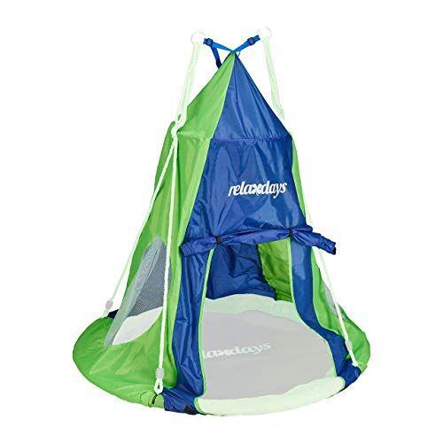 Relaxdays Tent voor nestschommel, overtrek voor schommelstoel tot 110 cm, ronde schommel accessoires, tuinschommelnest, blauw-groen