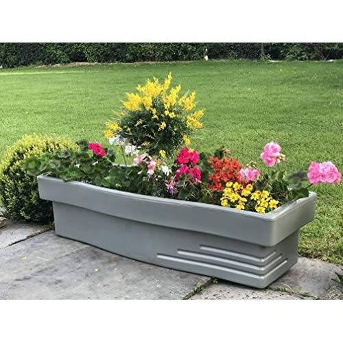 Plast'Up Rotomoulage 70 l R&C bloemenbak met waterreservoir, lichtgrijs voor bloemen en kruidenplanten