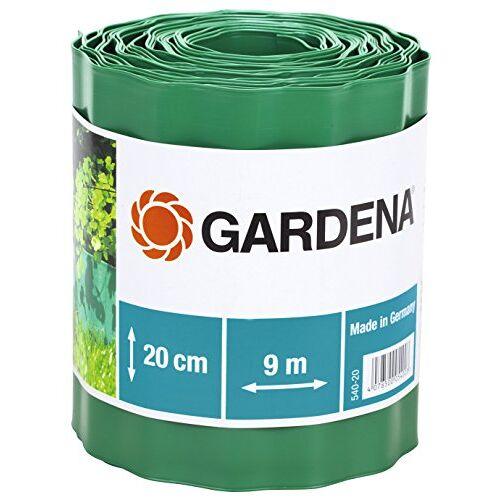 Gardena gazonrand 20 cm hoog: Ideale gazonafscheiding, ook voor perken, 9 m, voorkomt verspreiding van wortels, hoogwaardig kunststof, groen (540-20)