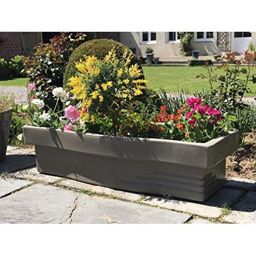 Plast'Up Rotomoulage R&C bloembak met waterreservoir, taupe voor bloemen en kruidenplanten