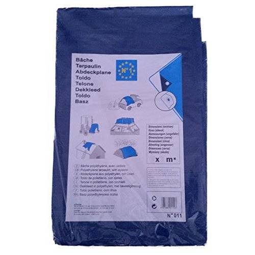 Provence Outillage Dekzeil, afdekzeil, beschermzeil, bootzeil, houtzeil, afmetingen 2 x 8 m (ca. 5 inch). ), blauw of blauw-groen.