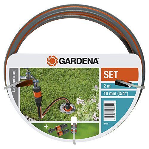 Gardena Profi-systeem aansluitgarnituur: Complete set voor het aansluiten van pipeline- en sprinklersystemen op de watervoorziening, met kraanstuk, slangstukken en FLEX slang (2713-20)