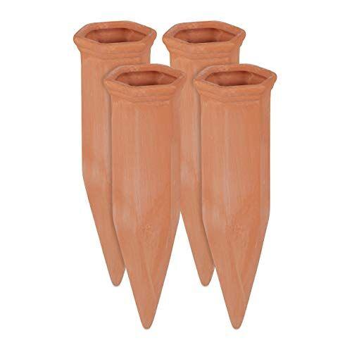 Relaxdays Tonkegel irrigatie, set van 4, irrigatiehulp voor planten, 1,5 l flessen, 17 x 5,5 x 5 cm, terracotta