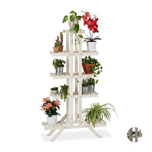 Relaxdays Bloementrap 5 treden, hout, voor binnen, vrijstaand, shabby chic, HxBxD: 142 x 83 x 25 cm, bloemenrek, wit