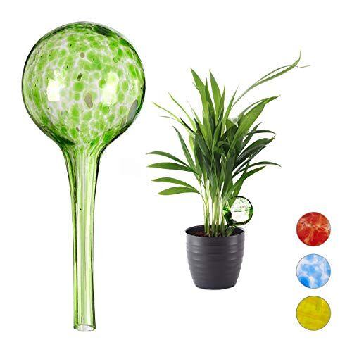 Relaxdays Bewateringsballen set van 2, gedoseerde irrigatie planten en bloemen, giethulp kantoor, vakantie, Ø 6 cm, glas, groen, H x D: ca. 15 x 6 cm.