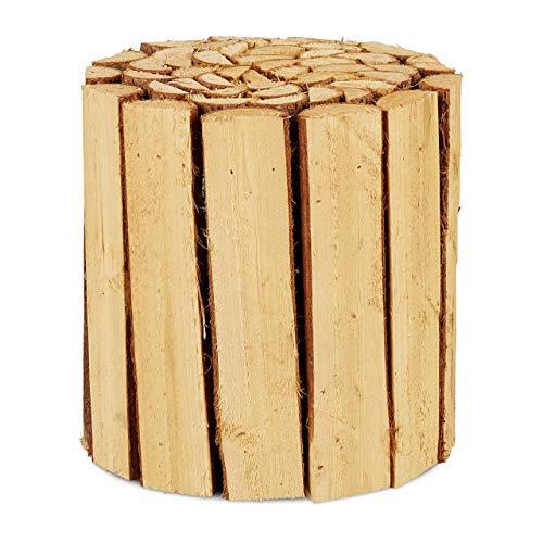 Relaxdays Bloemenkruk, hout, rond, natuurlijk, voor bloempotten, plantenbak, bloemenstandaard H x D: 20,5 x 20 cm, natuur