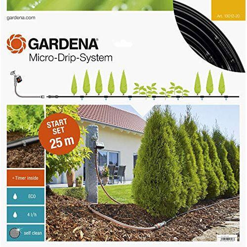 Gardena startset voor plantenrijen M automatic: Micro-Drip-systeem voor het zacht en zuinig bewateren van plantenrijen in de tuin (13012-20)