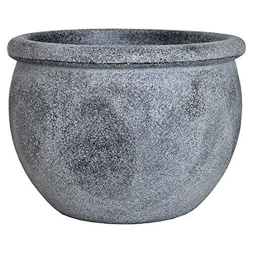 Dehner Bloempot puimsteen-look, Ø 55 cm, hoogte 42 cm, kunststof, grijs