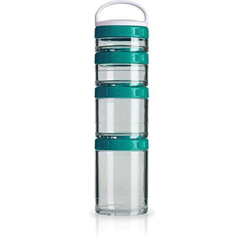 BlenderBottle GoStak Houder voor het bewaren van eiwitten, eiwitten, poeder, vitaminen en meerdere, starter, 4 stuks, incl. handvat (150ml, 100ml, 60ml en 40ml), teal