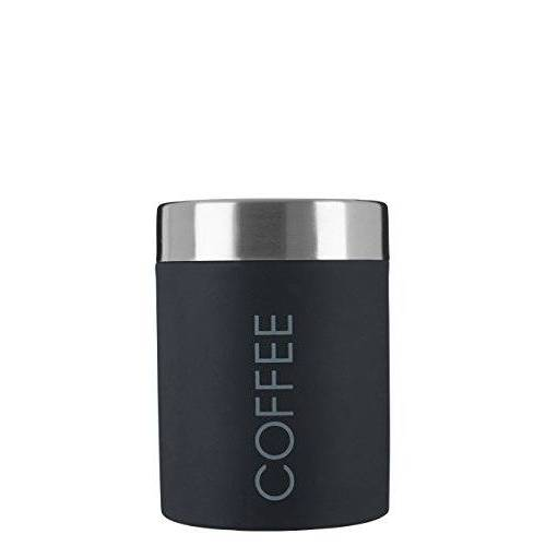 Premier Housewares 508676 Koffieopslagcontainers van roestvrij staal, keukenopslagcontainer zwart voedselopslag/opbergpotten met deksels, 13 x 10 x 10, H13 x B10 x D10 cm