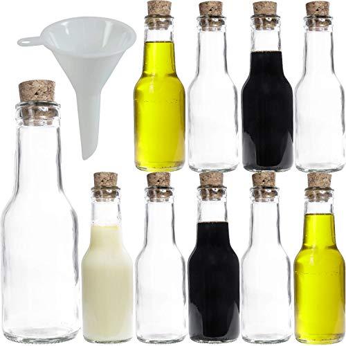 Viva Haushaltswaren 10 x glazen fles 150 ml met kurksluiting om te vullen, als glazen potten voor jenever, likeuren, enz. te gebruiken (incl. trechter Ø 7 cm).