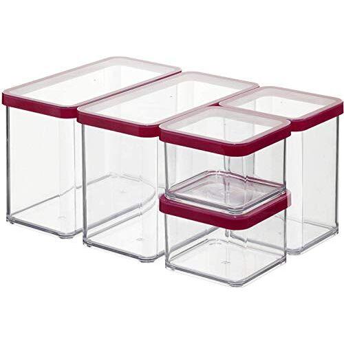 Rotho , Loft, Set van 5 opbergdozen met deksel in verschillende maten, Kunststof (SAN) BPA-vrij, transparant / rood, 2 x 2,1l, 1 x 1,0l, 2 x 0,5l (30,0 x 21,0 x 15,0 cm)