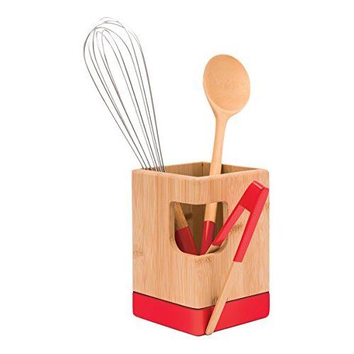 Pebbly nba089 gebruiksvoorwerpen container bamboe rood 10 x 10 x 15 cm