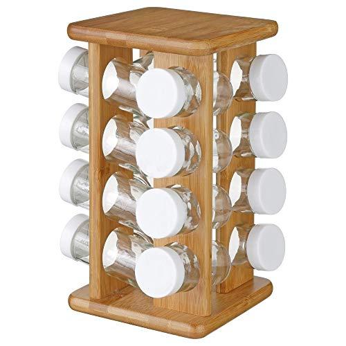 SG Secret de Gourmet Kruiden- en kruidenstandaard van bamboe, 16 glazen potten + draaibare standaard
