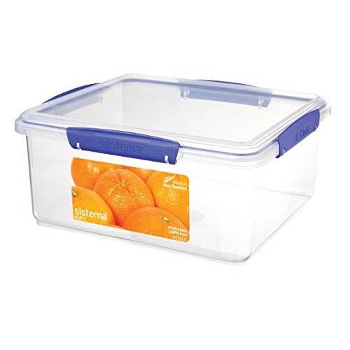 Sistema 1850 KLIP IT voedselopslagcontainer   5 l   stapelbare voedselprep container met deksel, BPA-vrij, blauwe clips, 1 stuks