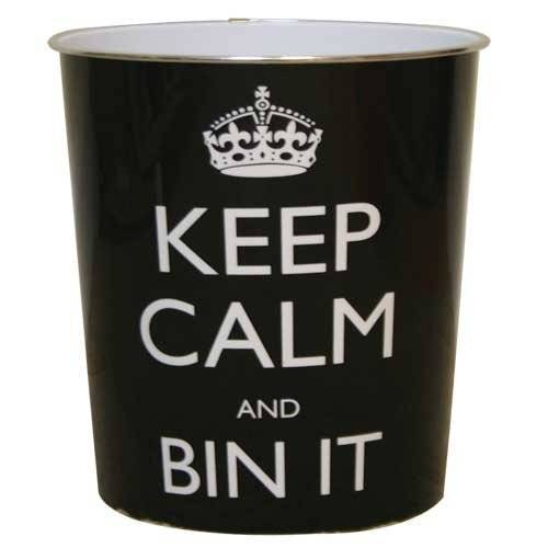 JVL Keep Calm and Bin It Afvalpapier Bin, Kunststof, Zwart, 25 x 26,5 cm
