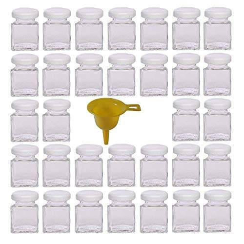 Viva Haushaltswaren 32 x mini jampot/kruidenglas 50 ml met witte schroefdop, glazen set met deksel voor specerijen, jam, zout enz. bruikbaar (incl. trechter).
