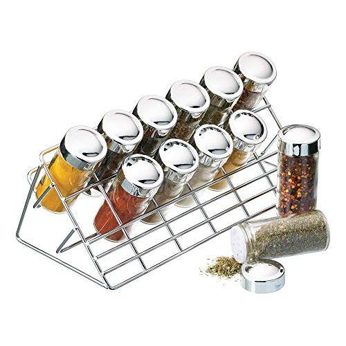Kitchen Craft Kruidenrek verchroomd, 12 glazen