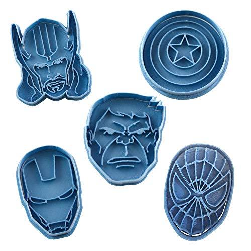 Cuticuter Superheroes Marvel koekjessnijder, blauw, 16 x 14 x 1,5 cm, 5 stuks