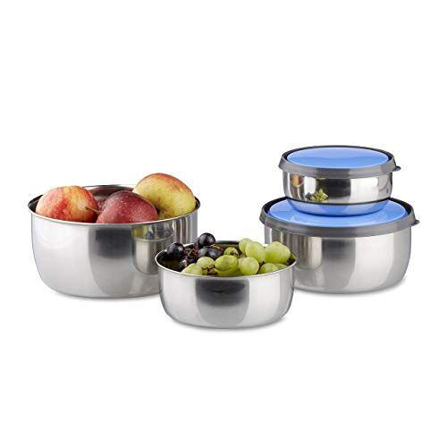 Relaxdays Bowl Set met Deksels, 4-delig, verschillende maten, roestvrij staal, opslagcontainers, blauw