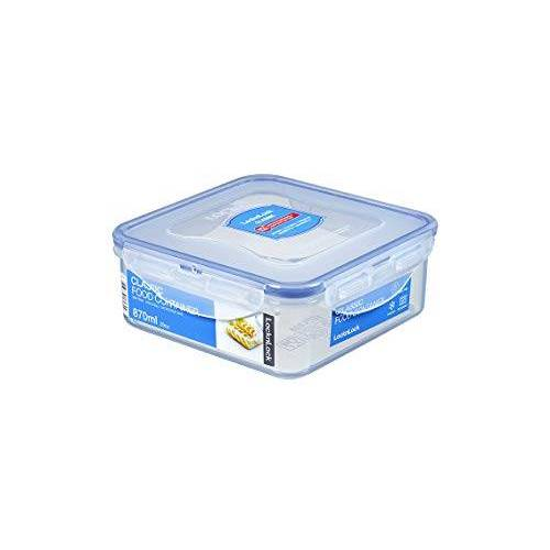 Lock & Lock Vierkante opslagcontainer helder/blauw, 870 ml