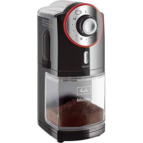Melitta 1019-02 Molino Koffiemolen, Elektrisch Maalwerk, Zwart en Rood