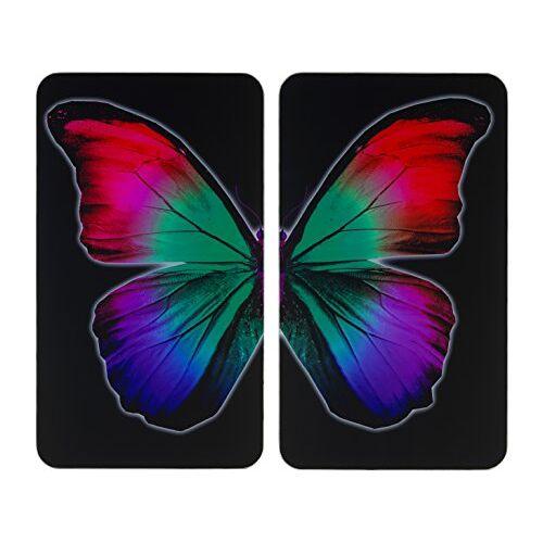 Wenko Fornuisafdekplaat Universal Butterfly by Night set van 2, kookplaatafdekking en glazen snijplank voor alle warmtebronnen, gehard glas, 30 x 1,8-5,5 x 52 cm, meerkleurig